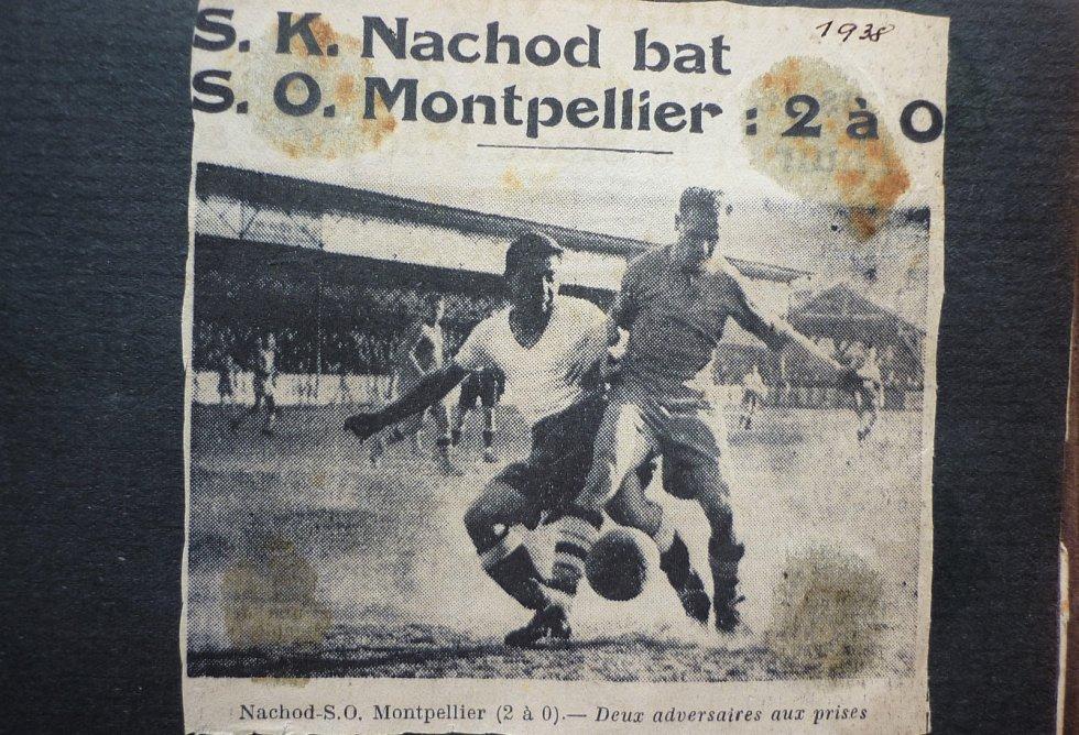 CENNÉ VÍTĚZSTVÍ. Na přelomu ledna a února 1938 absolvoval Náchod zájezd do Francie.  V utkání s Montpelliere slavně zvítězil 2:0. Oba góly vstřelil Karel Schloger.