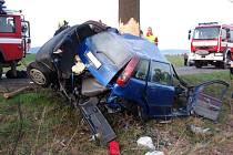 Hejtmánkovice, čtvrtek 9. dubna. Automobil  narazil do stromu. Jeden mrtvý.