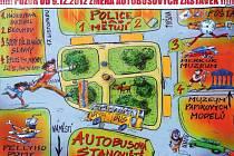 Orientační mapky vylepené na autobusových zastávkách informují o plánovaných změnách stanovišť.