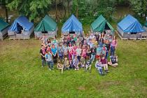 Letní tábor hronovského DDM Domino v Havlovicích.
