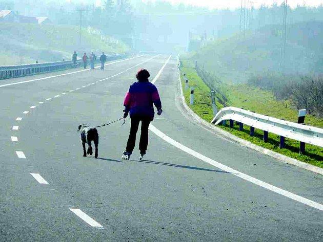 PŘEDRAŽENÉ KORZO. Nevyužívaná část obchvatu České Skalice slouží k rekreačním sportům i k venčení psů.