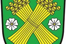 Znak je tvořen zeleným štítem, v němž se nachází dva zkřížené zlaté lněné snopy, které provází po stranách a dole stříbrné květy lnu se zlatým středem.