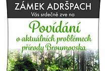Plakát na přednášku na adršpašském zámku.