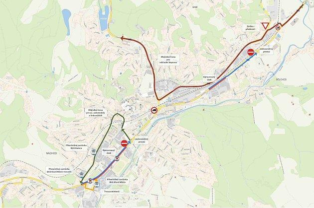 Mapa ukazuje, kudy pojedou nákladní vozy, osobní auta iautobusy.