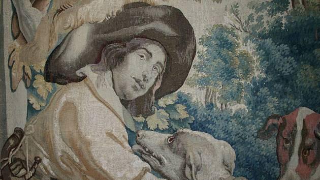 V Piccolominském sále byla pověšena tapiserie Lovec se psy ze souboru Život na venkovském sídle.