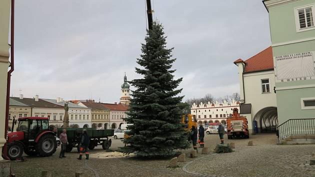 """Na Husově náměstí """"vyrostl"""" vánoční strom."""