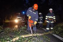 Spadlé stromy několikrát zablokovaly dopravu na hlavním tahu mezi Náchodem a Novým Městem nad Metují.