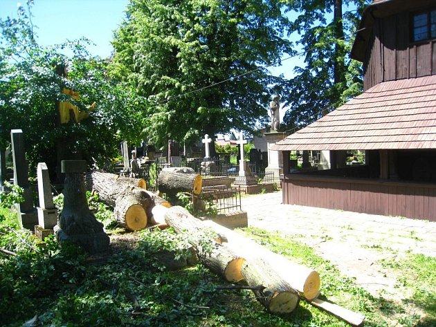 Lípa, která spadla na broumovském hřbitově, málem zničila kulturní památku - starý dřevěný kostelík.