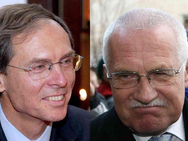 OBA KANDIDÁTI na prezidentský úřad: Jan Švejnar (vlevo) a Václav Klaus (vpravo).  Václav Klaus  včera řekl, že  za logickou považuje tajnou volbu prezidenta.