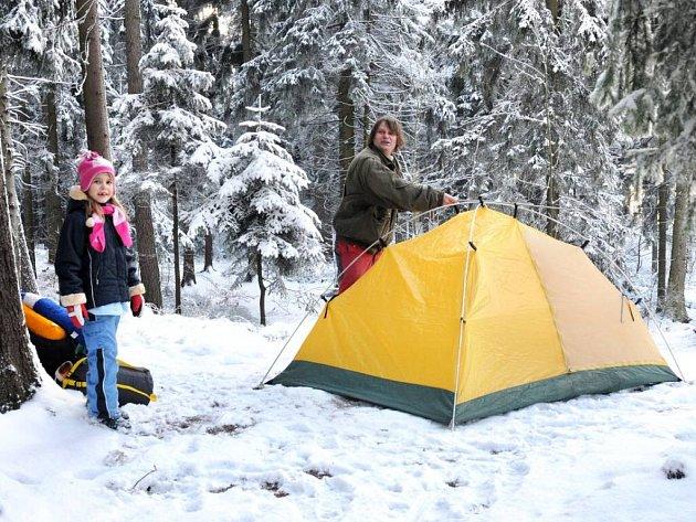 Zimní táboření na Hvězdě.