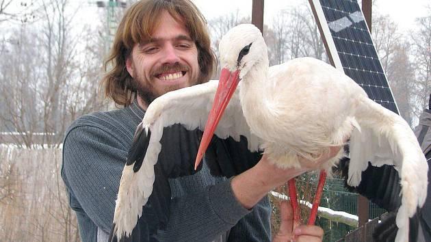Davic Číp z jaroměřské záchranné stanice Jaro s jedním ze zachráněných zvířecích pacientů.