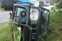 Havárie osobního automobilu ve Chvalkovicích.