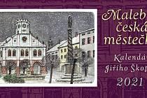 Půvabný Škopkův barevný stolní kalendář Malebná česká městečka pro rok 2021 nabízí celkem 46 překrásných kolorovaných pohlednic z celého Česka.