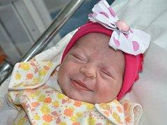 ELIZABETH KARALLOVÁ z Hronova se narodila 9. srpna v 19.52 hodin rodičům Alexandře a Janovi. Vážila 2860g a měřila 48 cm. Doma má šest sourozenců.