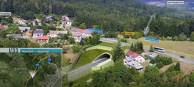 Na vizualizace obchvatu Náchoda je dům určený kdemolici vpravo od tunelu. Foto: Deník/Jiří Řezník