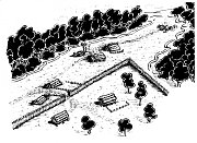 Pokus o uměleckou rekonstrukci laténské osady v Říkově