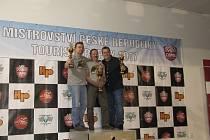 Tři nejlepší Češi kategorie Supermono. Zleva Václav Jakl, uprostřed Pavel Macháček a vpravo Josef Batelka. Archiv závodníků