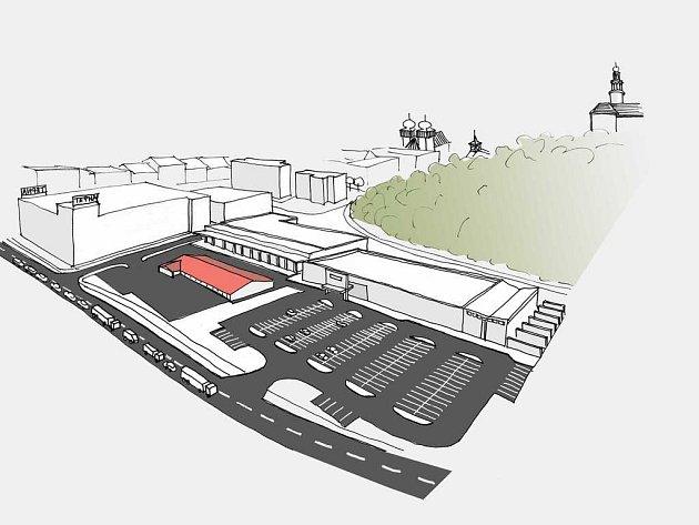 Vizualizaci prostoru u Tepny vytvořili členové sdružení Sbor dobrovolných občanů v Náchodě. Objekt s červenou střechou je nynější market Lidl. Za ním jsou zakresleny dva kontroverzní hypermarkety a vlevo je bílý objekt, v němž by vznikly byty a obchody.