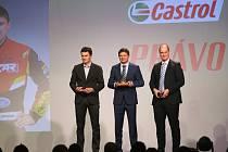 NEJLEPŠÍ TROJICE kategorie Automobilové soutěže a maratony 38. ročníku ankety Zlatý volant (zleva): druhý Jan Kopecký, vítěz  Martin Prokop a třetí Václav Pech.