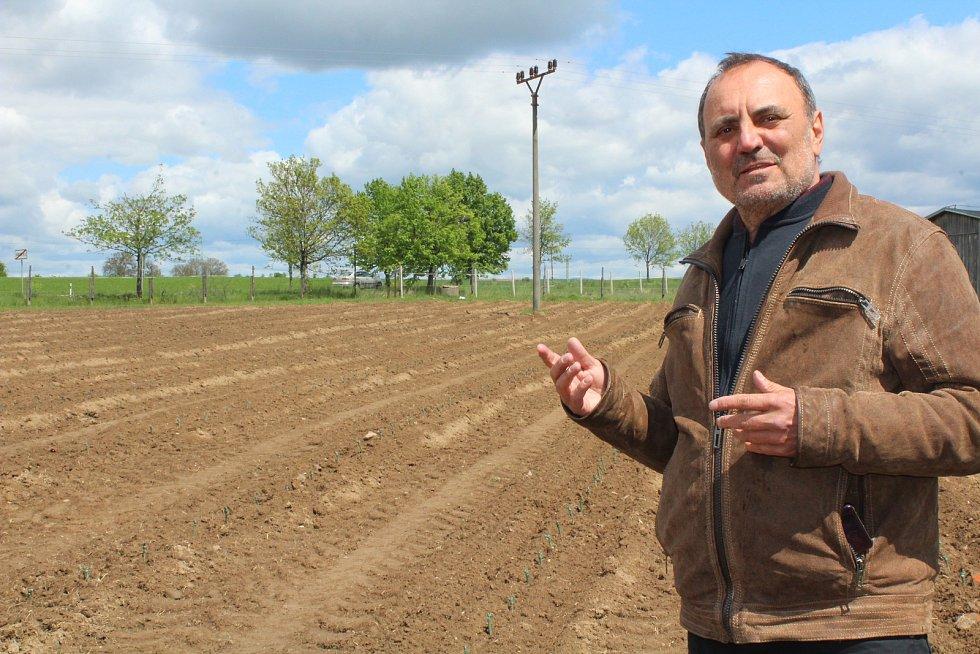 Petr Dujka na své vinici.