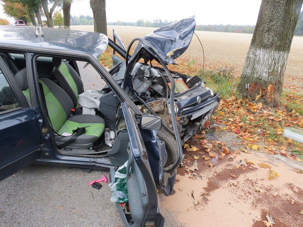 Mladík vyjel ze silnice a narazi do stromu.