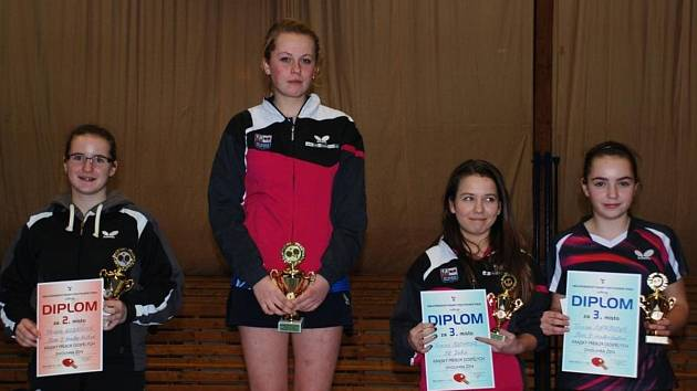 NEJLEPŠÍ ŽENY. Titul krajské přebornice získala Kateřina Rozínková, která ve finále porazila nasazenou jedničku Terezu Kozákovou. Na třetím místě skončily Terezie Sazimová a Tereza Jirásková.