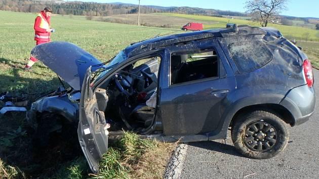 Havárie osobního automobilu u Javornice.