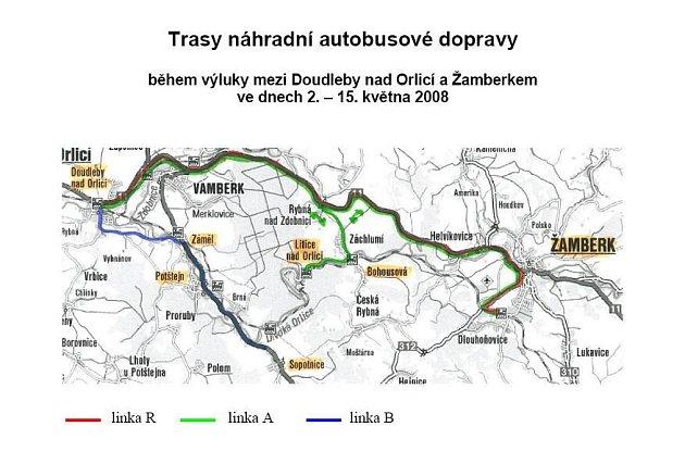 Trasa náhradní autobusové dopravy.