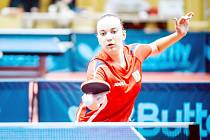 Doberská stolní tenistka Zdena Blašková v reprezentačním dresu.