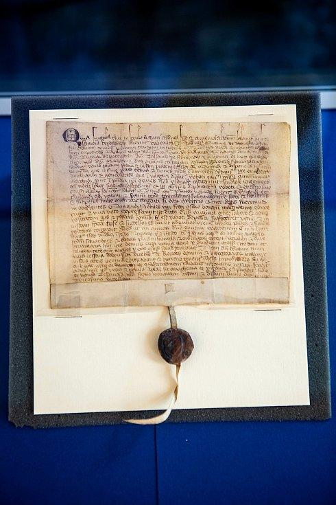 Zřejmě jeden z nejdůležitějších dokumentů z historie Dobrušky doputoval na místní radnici. Tedy na tu historickou. Jde o originál dobrušského privilegia - Narovnání mezi Mutinou z Dobrušky a dobrušskými měšťany o roboty a právo várečné z roku 1320.