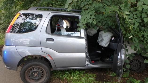 Havárie osobního automobilu u Vrbice.