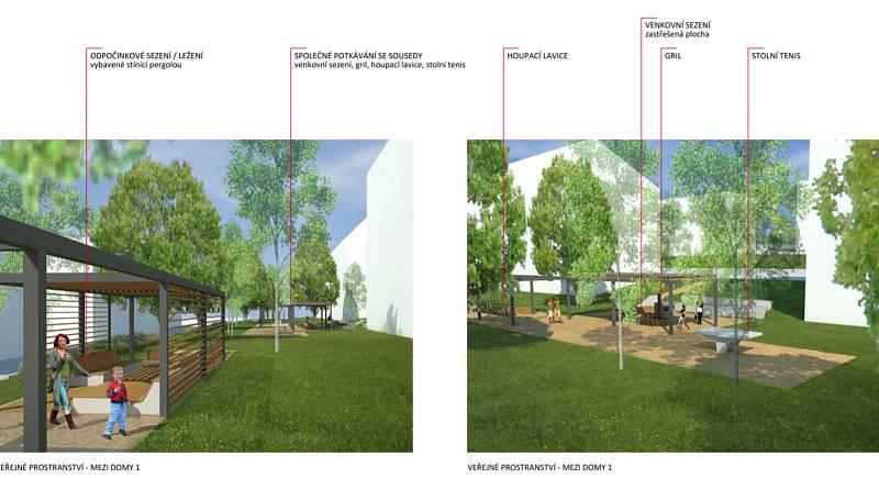 Řešení prostoru mezi domy podle studie.