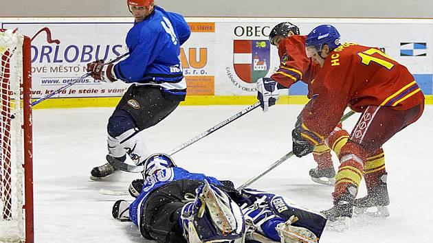 Hokejové utkání Opočno - Trutnov (2:3).