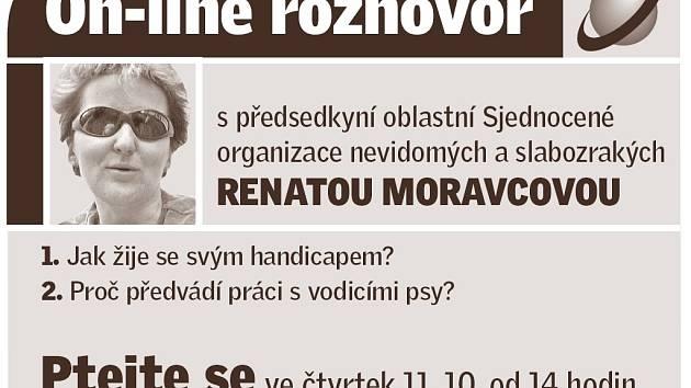 Renata Moravcová v on-line rozhovoru.