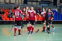 RADOST. Dobrušská hráčka Vanesa Bašová (č. 14) vstřelila v odvetě dva góly a byla vyhlášena hráčkou utkání.