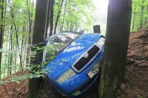 Řidič vyjel ze silnice a narazil do stromů.