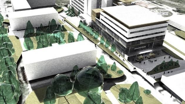 Vizualizace možné budoucí podoby areálu rychnovské nemocnice s novým pavilonem.