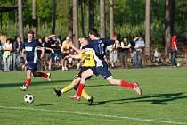 Okresní derby krajské I. B třídy Albrechtice - Ohnišov vyhrál domácí tým 3:1.