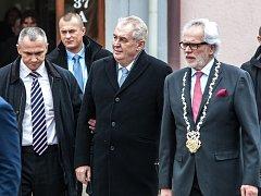 Prezident Miloš Zeman přijel v pátek do Kostelce nad Orlicí, kde se sešel s představiteli města a se zdejšími občany.