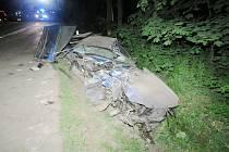 Řidič předjížděl, vyjel ze silnice a narazil do stromu.