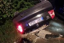 Havárie osobního utomobilu v Šachově.