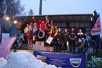 """Stupně vítězů prvního podniku letošního mistrovství České republiky v motoskijöringu """"Orion – Shiva KTM Cup 2014"""", který se uskutečnil v neděli v Martinicích."""