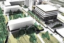 Vizualizace možné budoucí podoby dětského pavilonu a urgentního příjmu v rychnovské nemocnici.