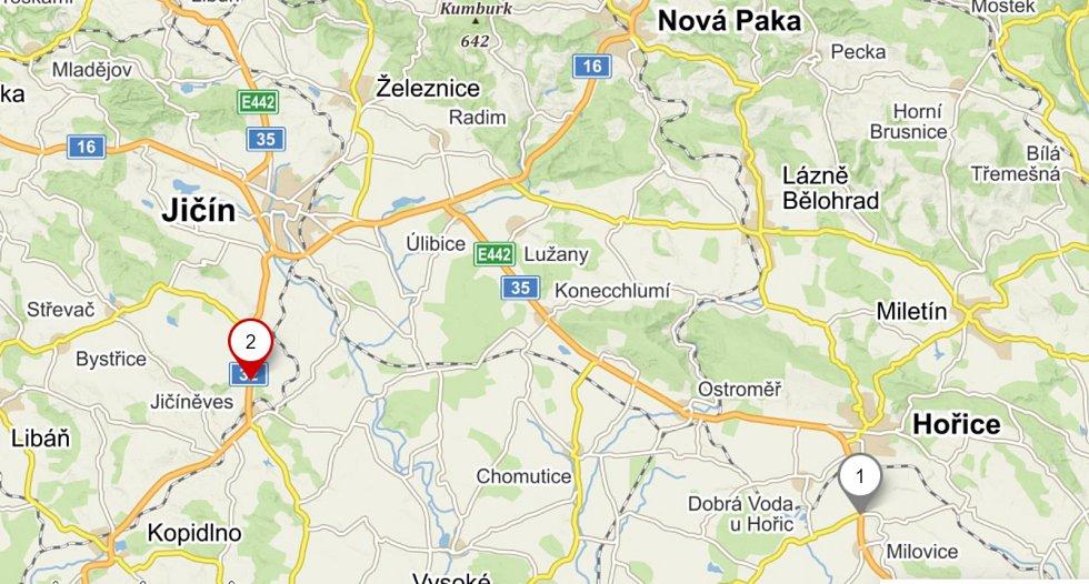 Mapa s vyznačenými nehodami letošních prázdnin