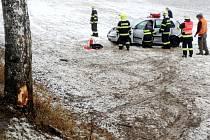 Havárie osobního automobilu u Borohrádku.
