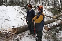 Při těžbě dřeva si žáci užili sněhu a mrazu