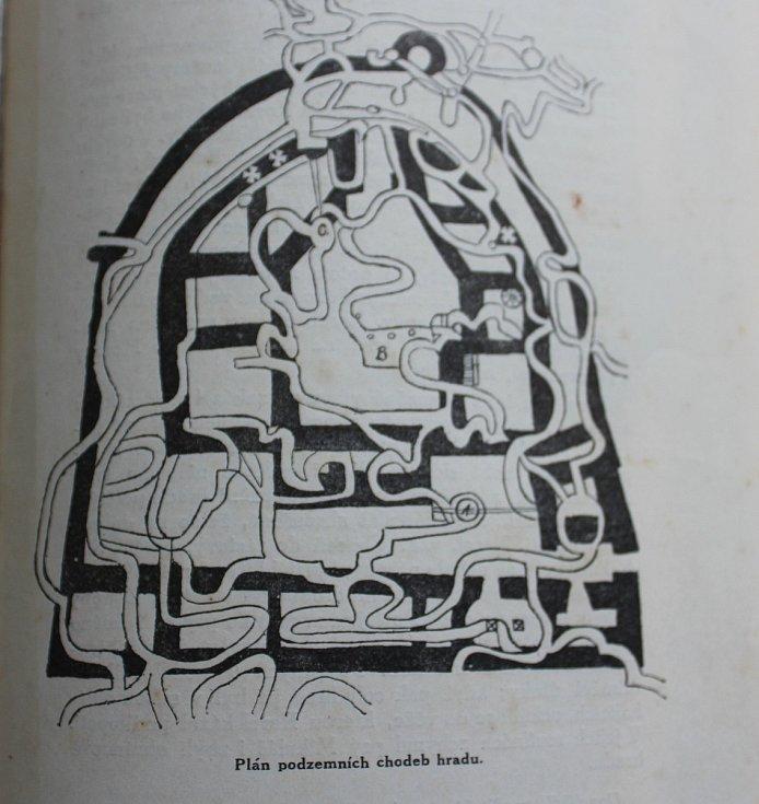 Plánek podzemních chodeb potštejnského hradu. Zdroj: Průvodce Potštýnem