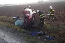 Záchranáři zasahovali u nehody mezi Bílým Újezdem a Ještěticemi.