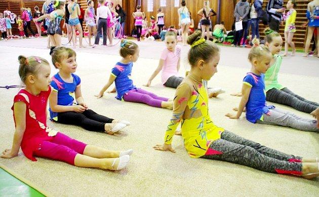 """Více než stovka moderních gymnastek se představila na závodech """"Dobrušské jaro""""."""