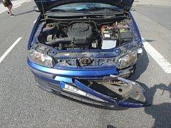 Dopravní nehoda osobního automobilu a motocyklu v Borohrádku.